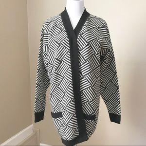 Vintage Black and White Graphic Cardigan Sweater